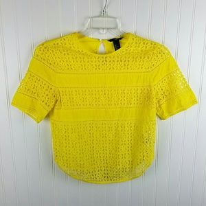 H&M Yellow Mesh Top With Solid Panels Sz 4